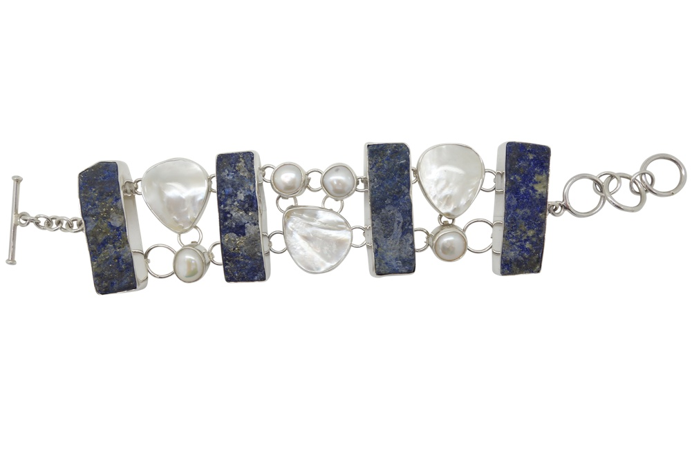 Rusty Lapis Mother of Pearl Sterling Silver Bracelet