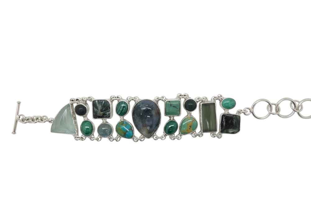 Green Jasper Turquoise and Malachite Sterling Silver Bracelet