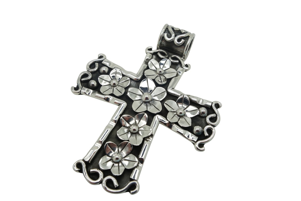 Sterling Silver Floral Cross