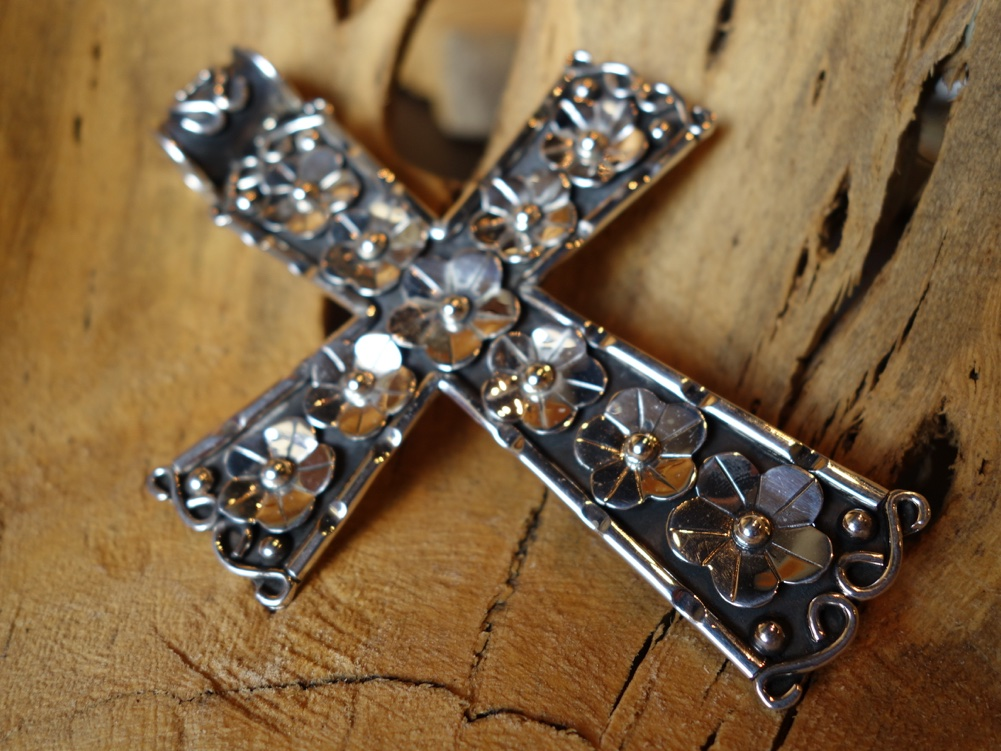 12cm Cross with Floral Accents 925 Solid Silver