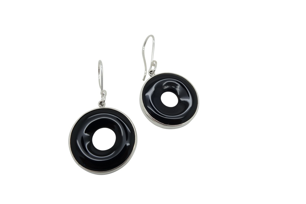 Onyx donut Sterling Silver Earrings HANG