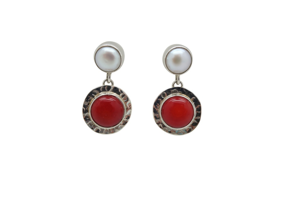 Coral Pearl Sterling Silver Earrings POST