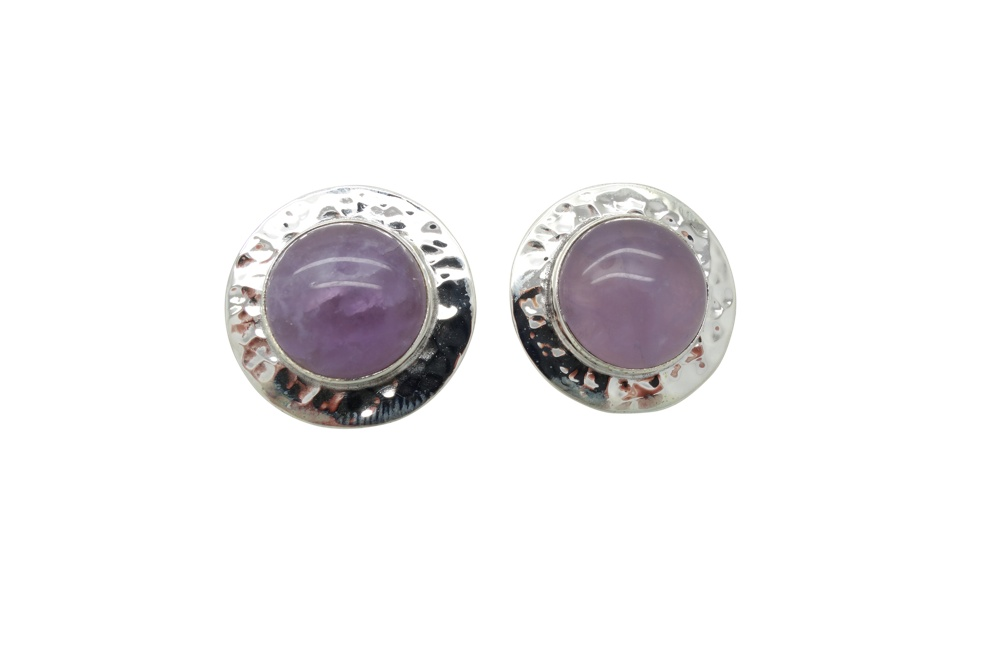 Amethyst Hammered Sterling Silver Earrings POST