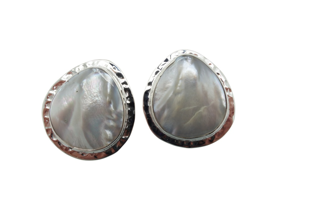 Mother of Pearl Hammerred Sterling Silver Earrings POST