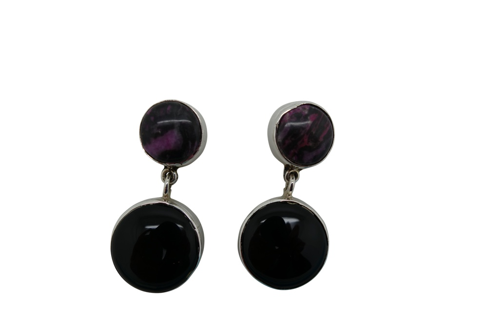 Round Onyx with Agatha Sterling Silver Earrings-POST
