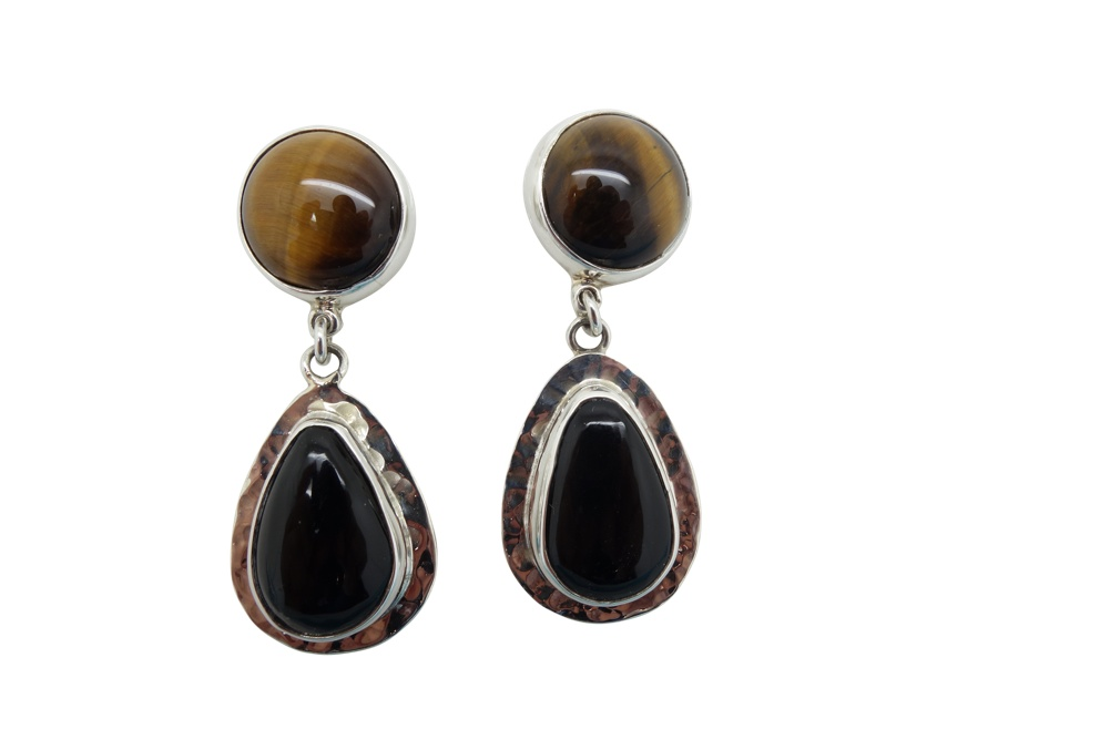 Teardrop Onyx and round Tigers Eye hammered sterling silver earrings-POST