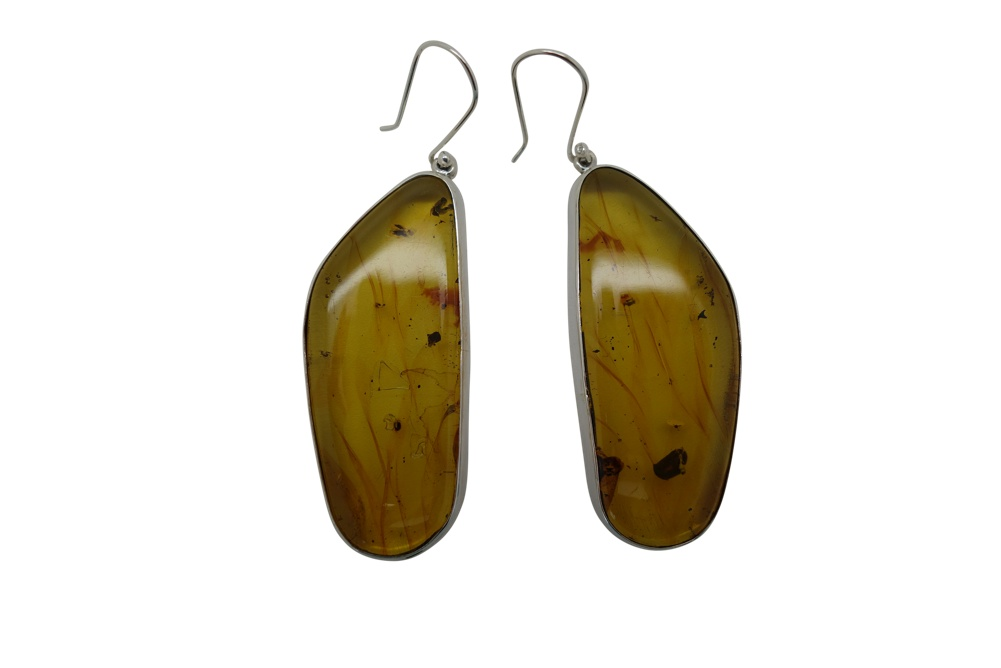 Elongated Amber Sterling Silver Earrings-HANG