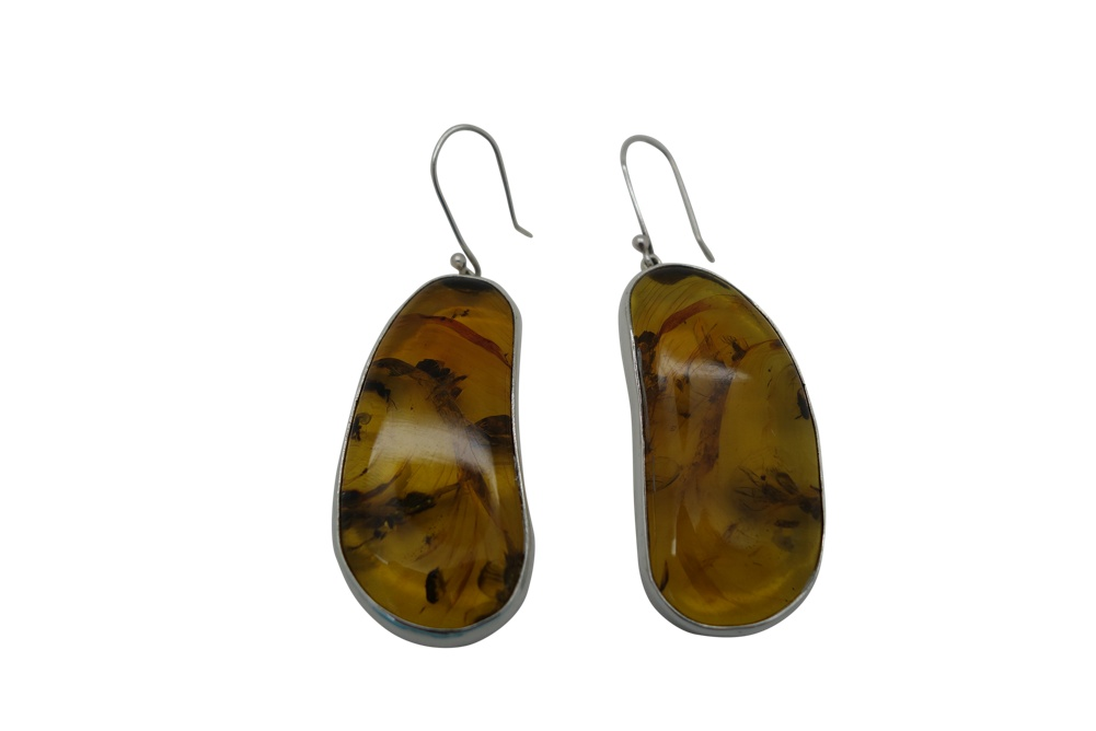 Elongated Amber with simple Sterling Silver Encasement-HANG