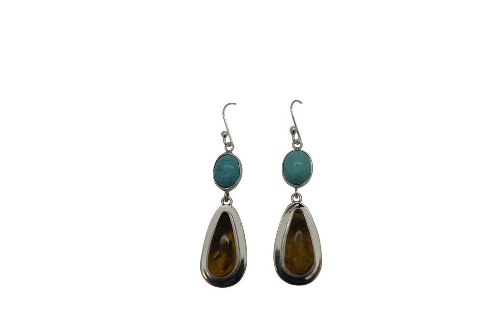 Teardrop Amber and Turquoise with Simple flange Encasement-HANG