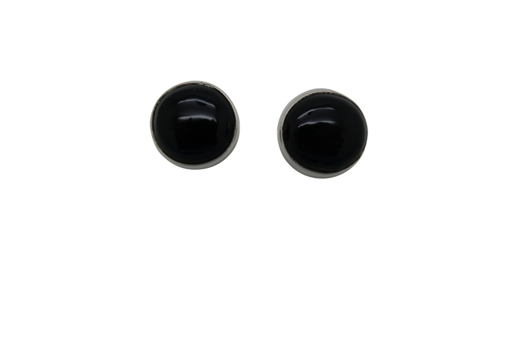 Simple Round Onyx Sterling Silver Earrings-POST