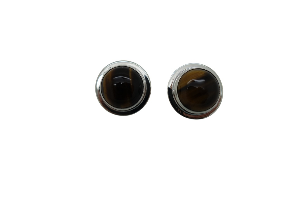 Flanged Round Tigers Eye Silver Earrings-POST