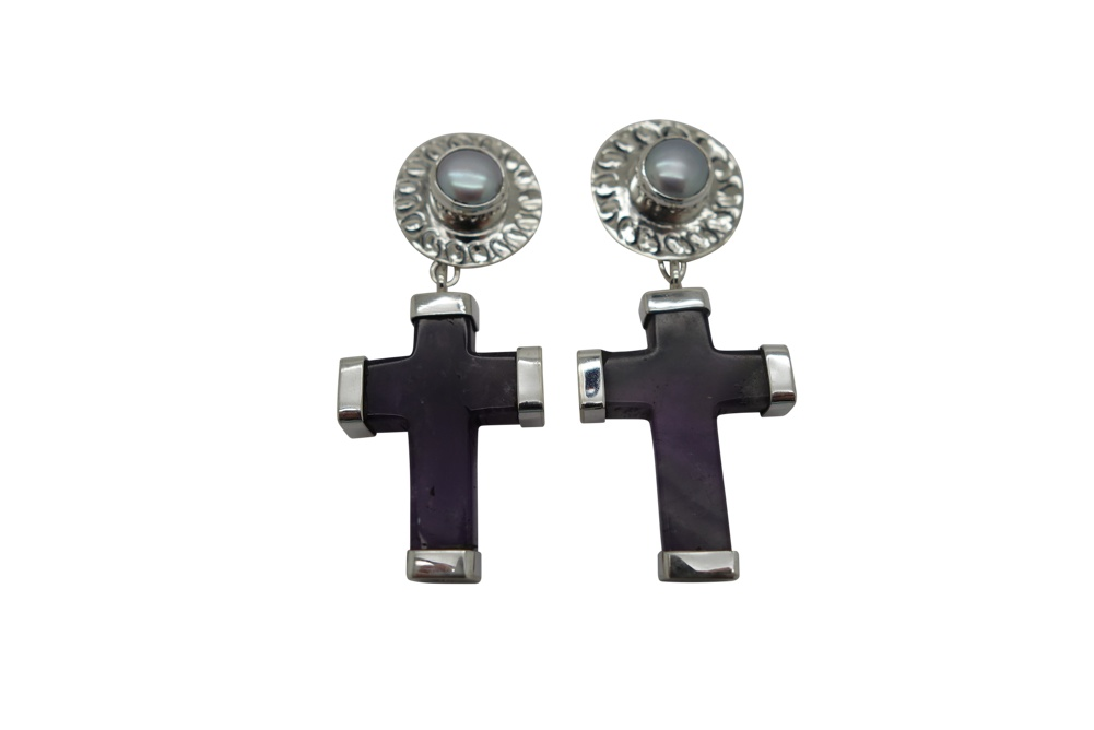 Cross Shape Amethyst with Silver caps and Pearl with cinched Flange Earrings-POST
