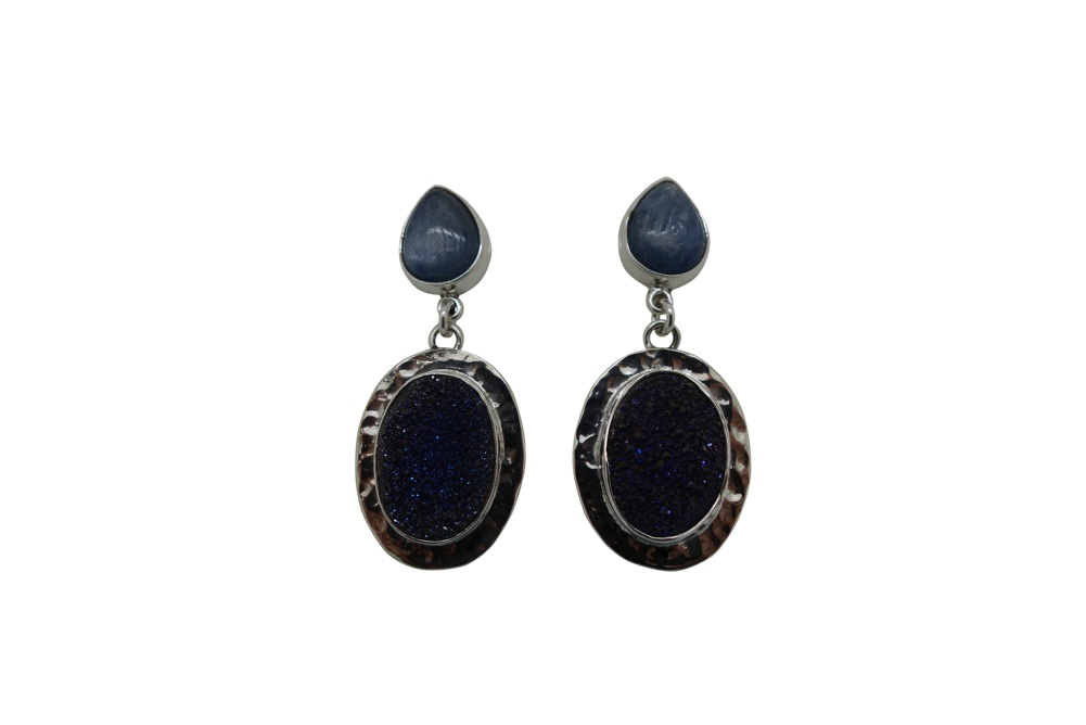 Oval Geode with Hammered Silver Encasement and Agua Marina Earrings-POST