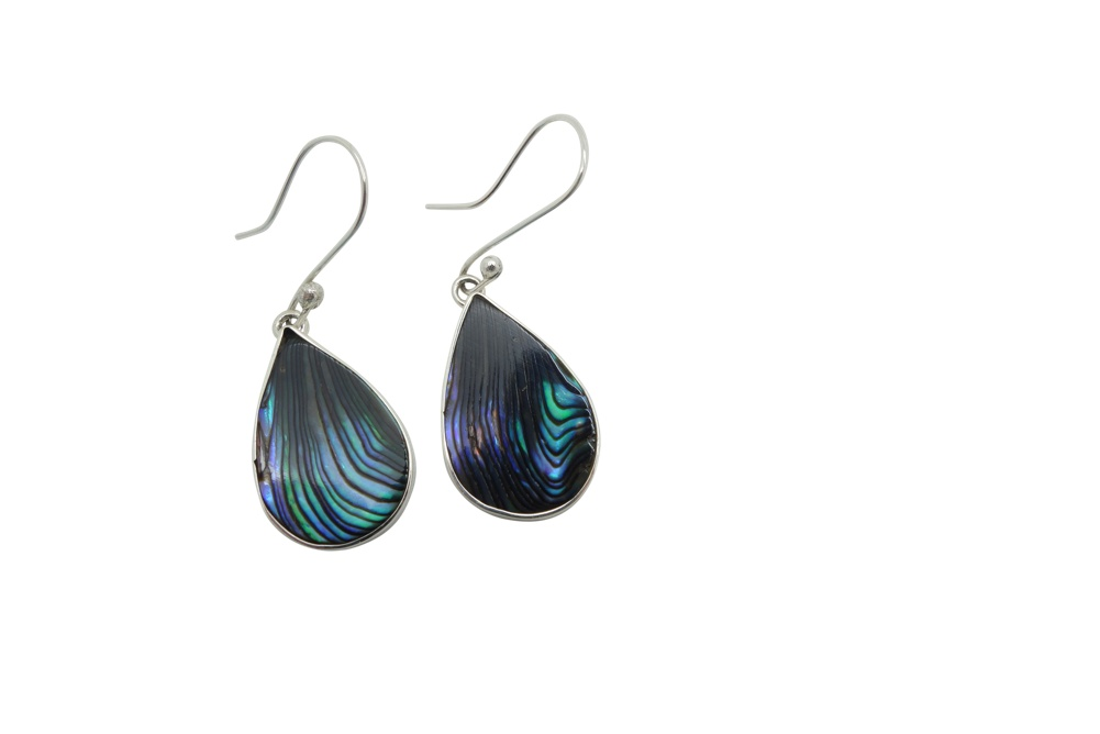 Teardrop abalone simple Sterling Silver encasement-HANG