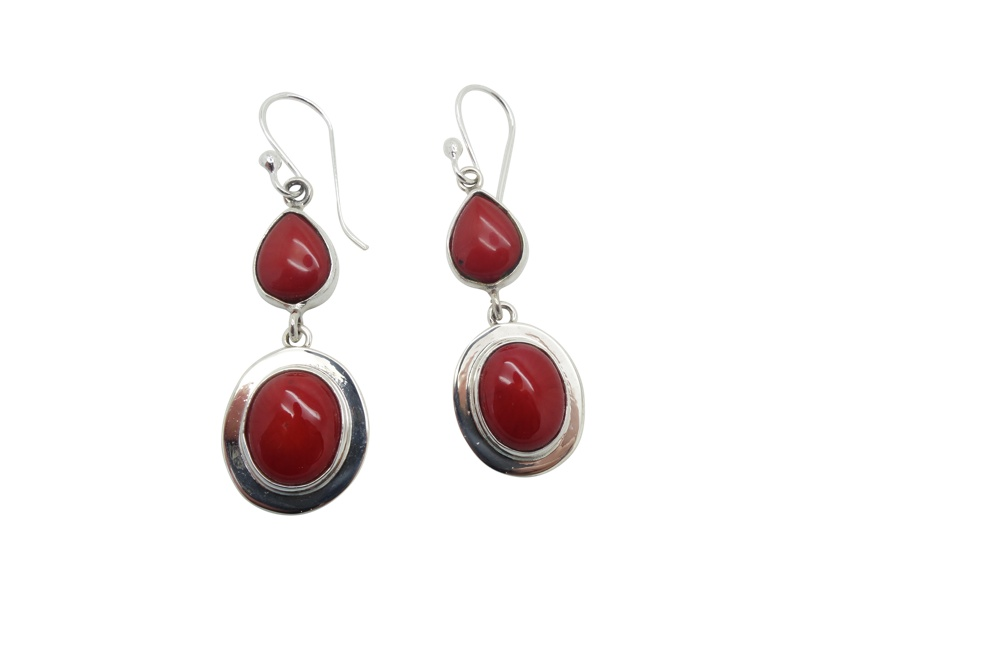Flanged simple Oval and teardrop Coral Sterling Silver earrings-HANG