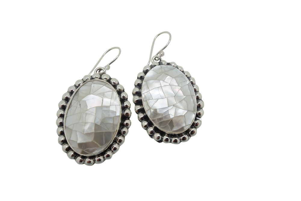Crackled Mother of Pearl with Ball Sterling Silver Frame Earrings
