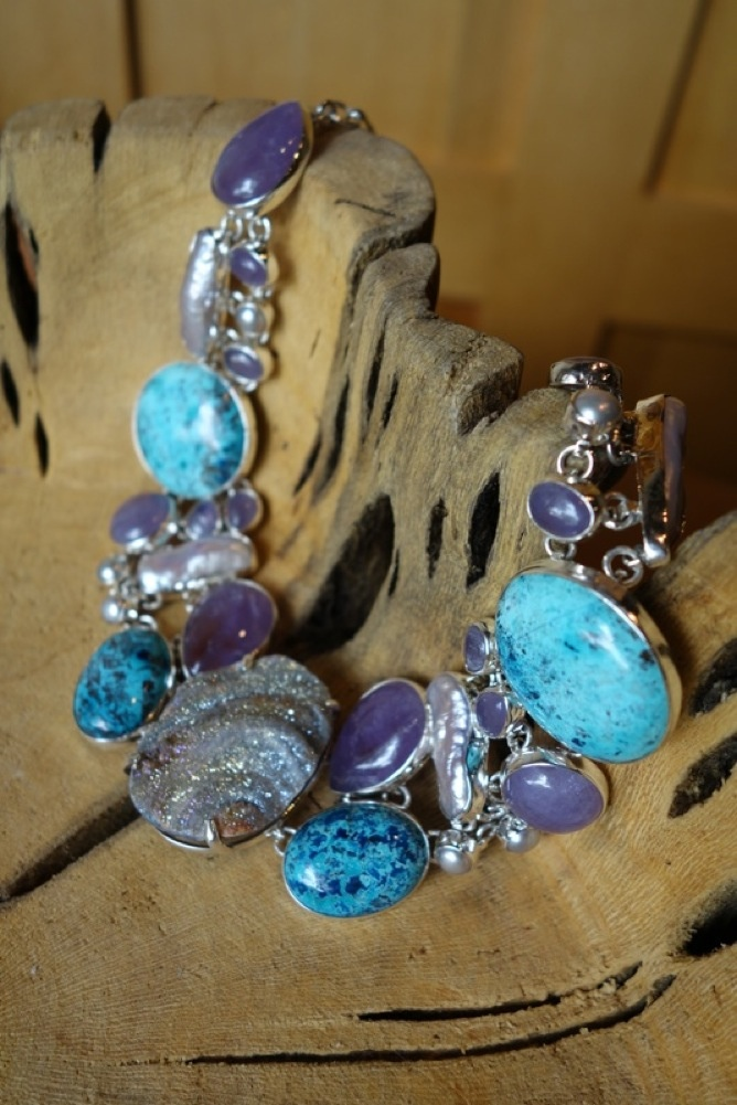 Sterling Silver Necklace Turquoise Druzy Amethyst
