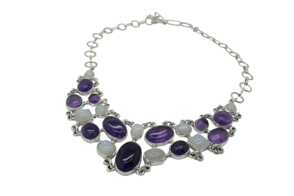 Amethyst and Moonstone Sterling Silver Necklace