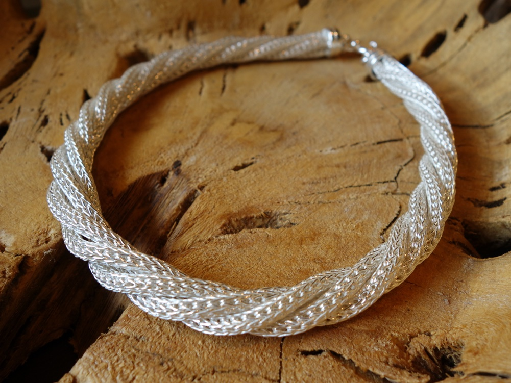 Braided Rope chain polished silver
