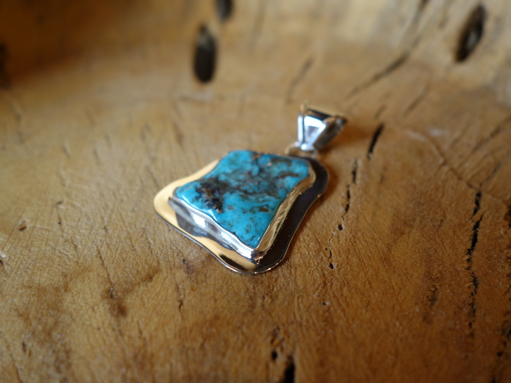 3.5cm Turquoise Solid 925 Silver Pendant