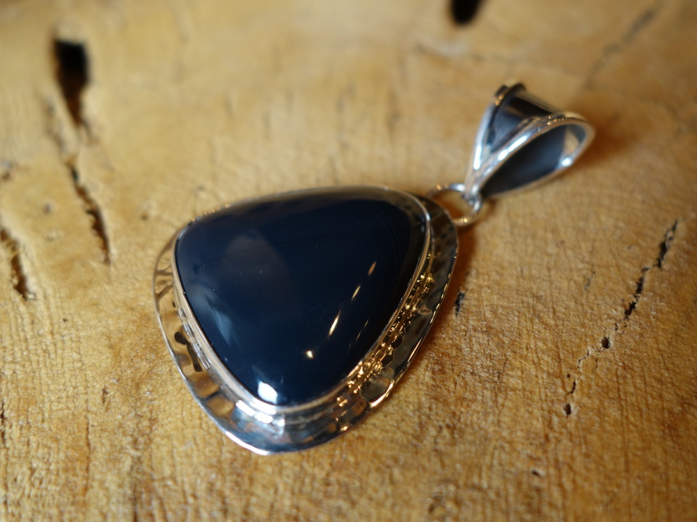 4cm Onyx Solid 925 Silver Pendant