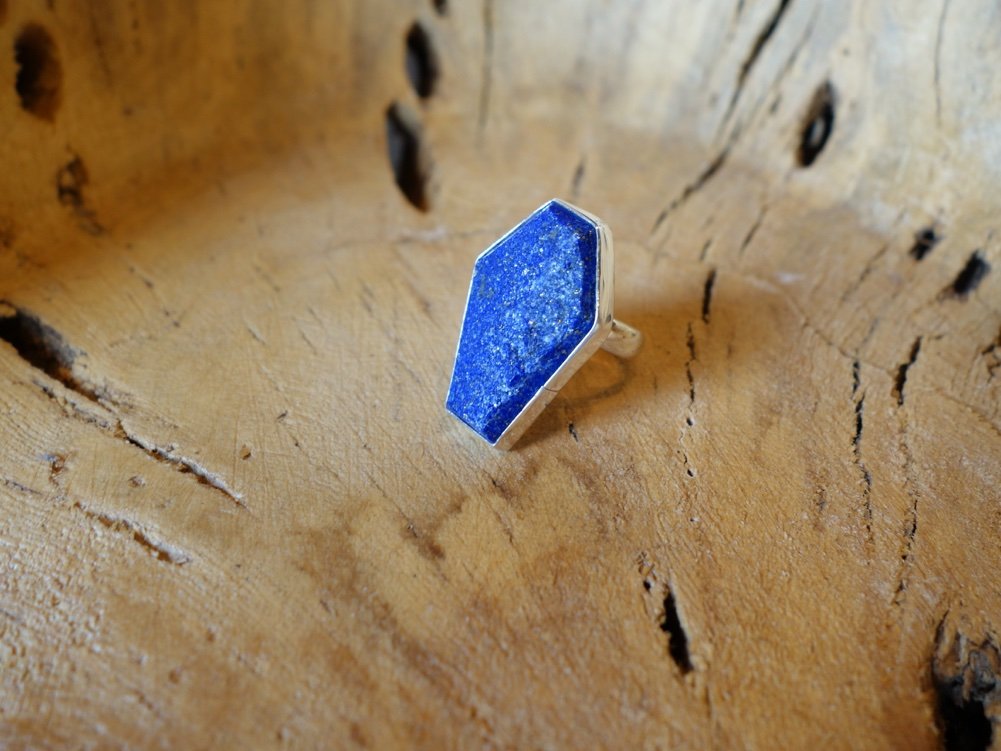 Size 7 Lapis 925 Solid Silver Ring