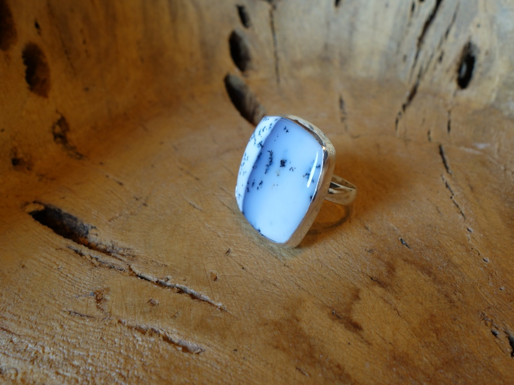 Size 7 Dentrite Opal Solid 925 Silver Ring