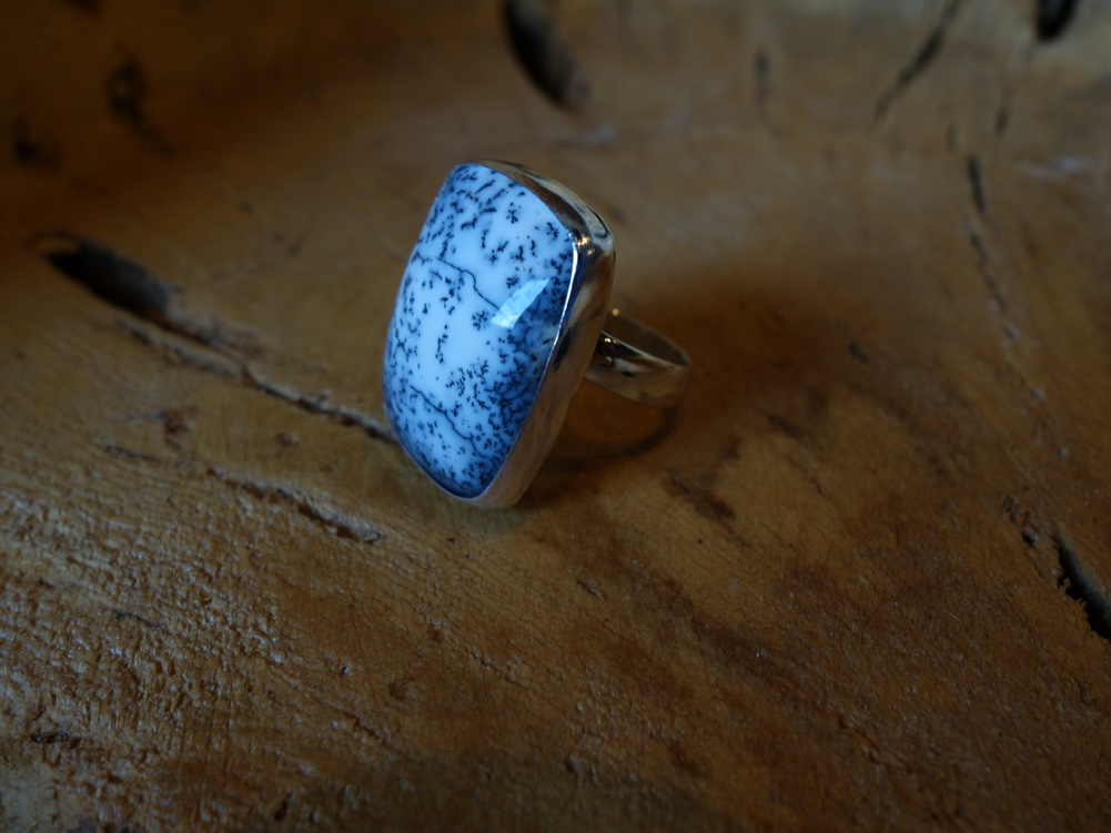 Size 8 Dentrite Opal Rectangular 925 Solid Silver Ring