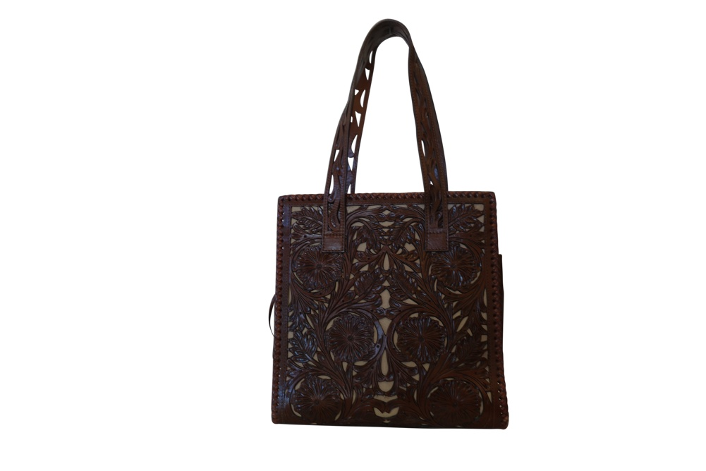 UXMAL GDE CALADA Handtooled Leather Handbag12