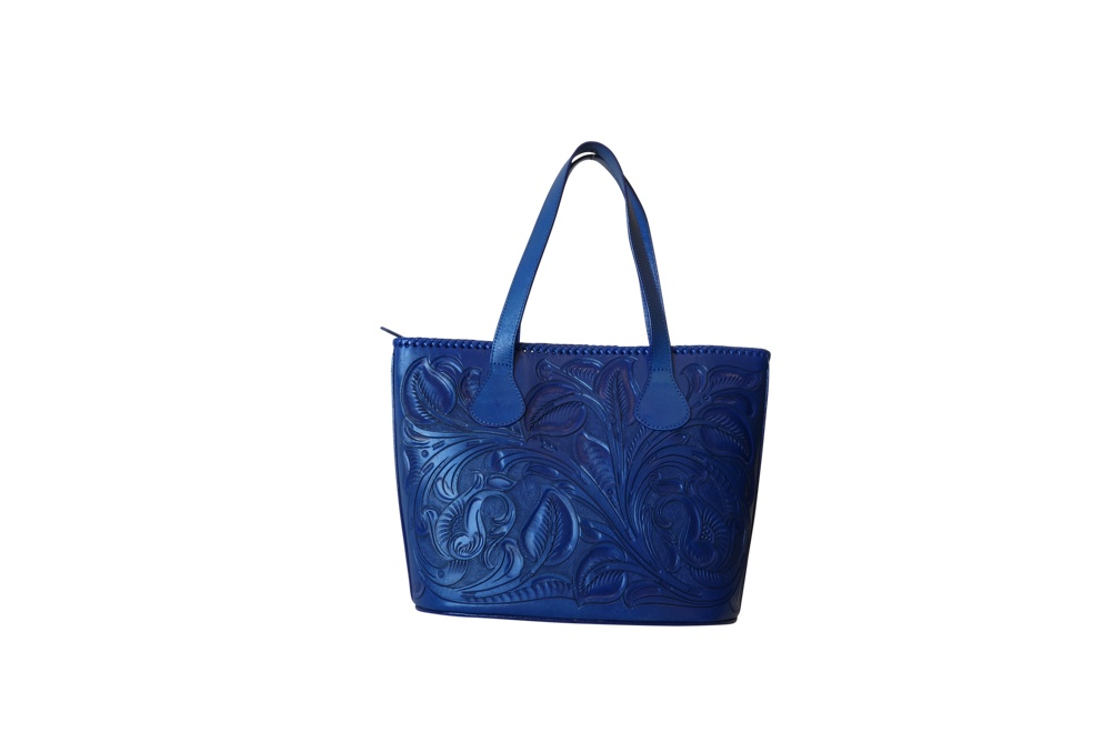 CHICHENITZA Handtooled Leather Handbag16.5x7x12Blue Color