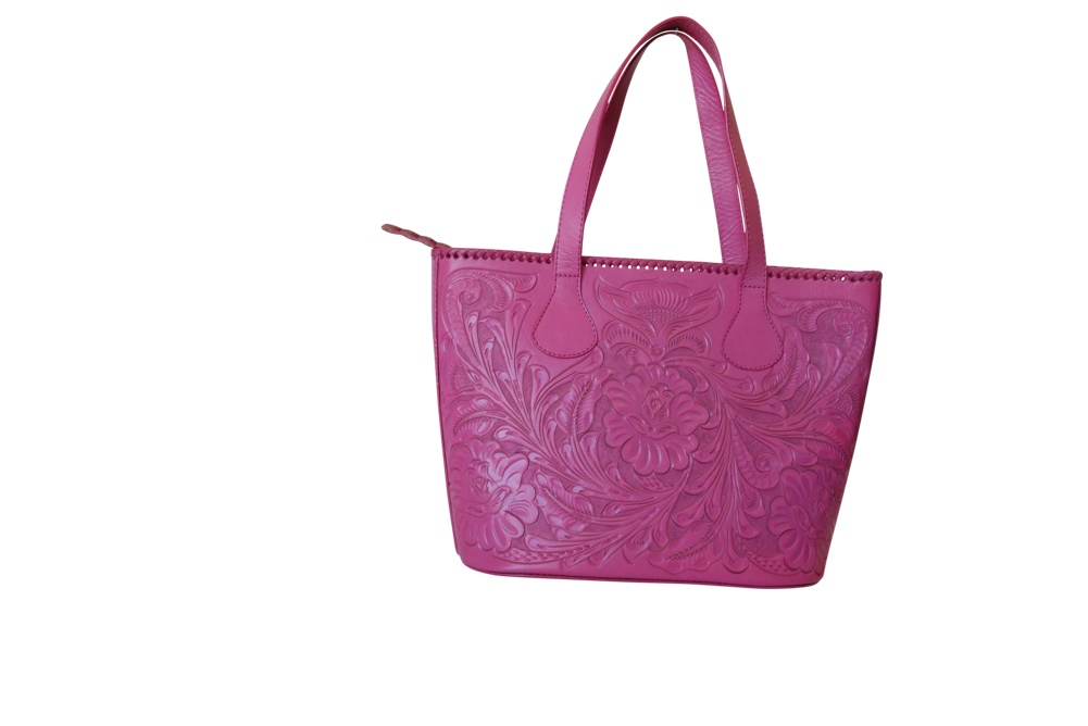CHICHENITZA Handtooled Leather Handbag16.5x7x12Pink Color