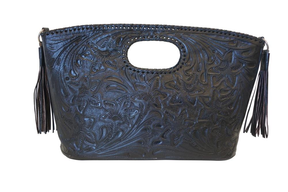 Becan 17 X4 X11 Black Colorhandtooled Leather Handbag