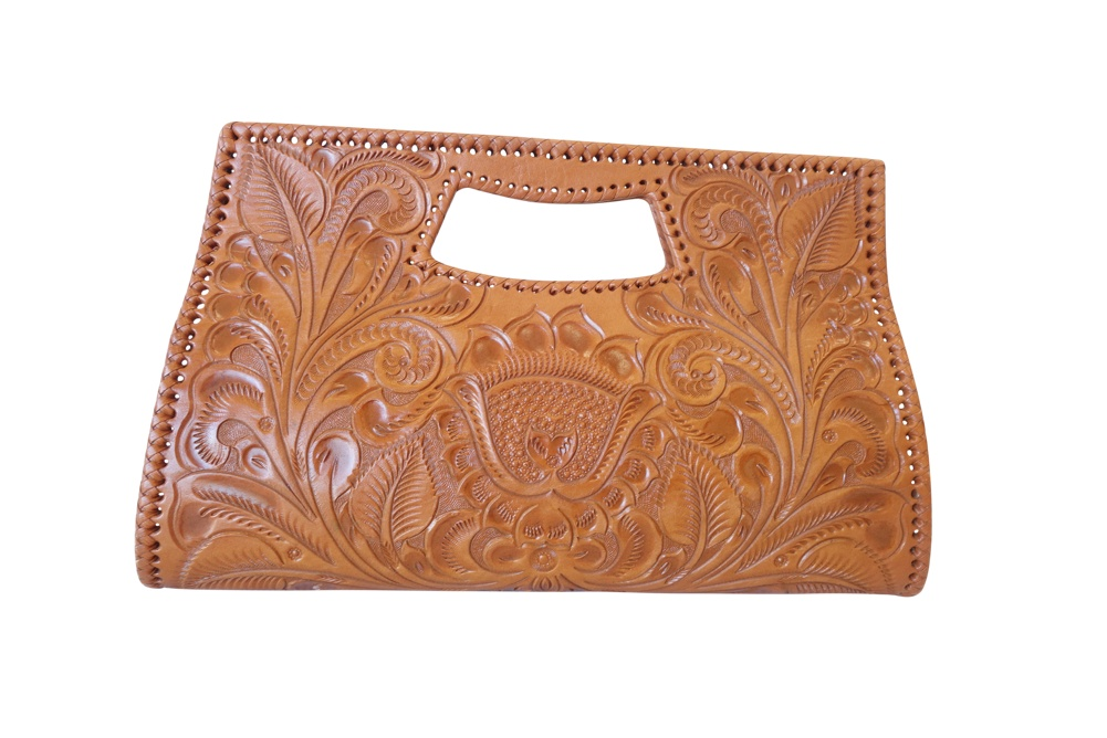 Vallarta Grande Handtooled Leather Handbag 15.5