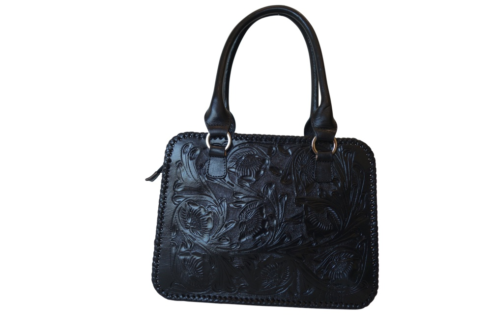 XCARET Handtooled Leather HandbagBlack Color13