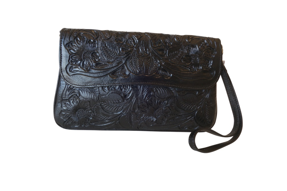GRANADA Handtooled Leather HandbagBlack Color10