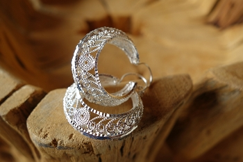 925 Silver Filigree 30mm wide HOOP Earrings