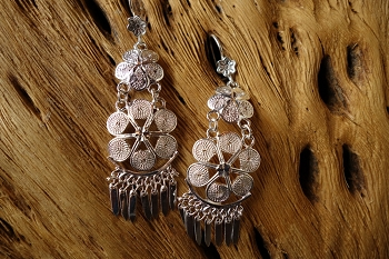 925 Silver Filigree 44mm long Double Floral HANG Earrings