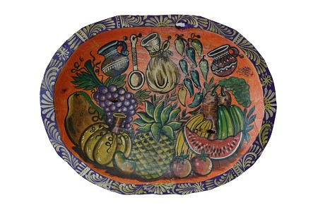 "Hand Painted Mexican Wood Dough Bowl XL, 20""x15""x2"", 4.5lbs."