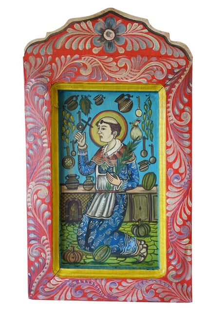 "Hand Painted Wooden Mexican Mural,15.5""x31.5""x1.5"", 6lbs."
