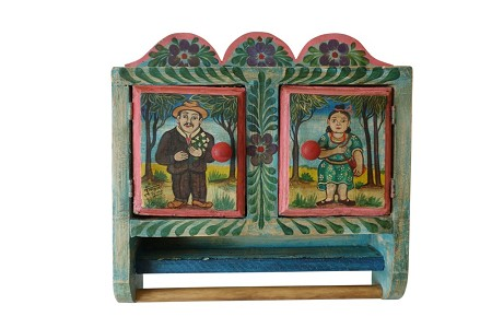 "Hand Painted Mexican Toiletry Cabinet with Towel Bar, 18""x18""x5"", 10lbs."