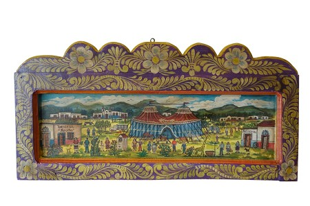 "Hand Painted Mexican Village Wooden Mural XL, 41""x20""x1.5"", 13lbs."