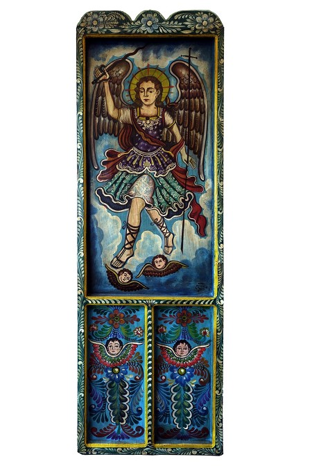 "Hand Painted Mexican Arch Angel Wooden Door BLUE 22.75""x70""x1.5"", 13lbs."