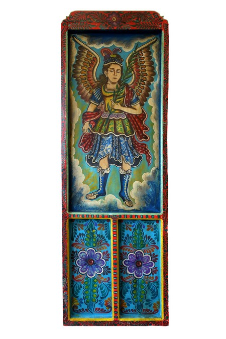 "Hand Painted Mexican Arch Angel Wooden Door RED 22.75""x70""x1.5"", 13lbs."