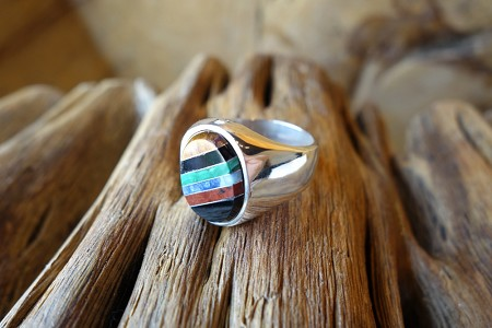 Size 12  950 Silver Ring with Nat Stone Inlay