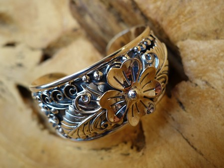 925 Sterling Silver Bracelet with Flower Leaves Rustic