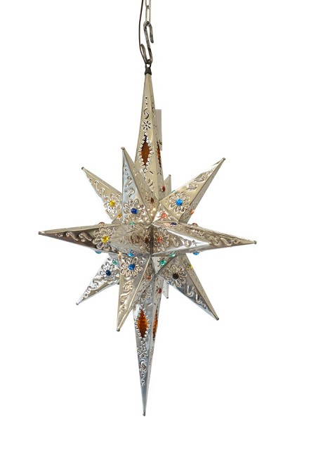"Estrella Pico Largo Con vidrio ChicaOrange Color GlassPerforated Tin Star 28""h x 16""w"