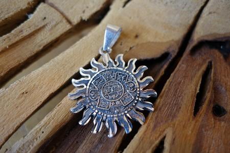 925 34mm silver mayan sun pendant aloadofball Image collections