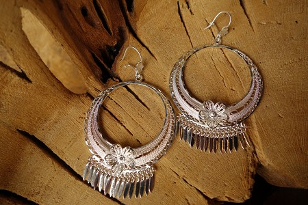 925 Silver Filigree 48mm Round with round hollow interior HOOP Earrings