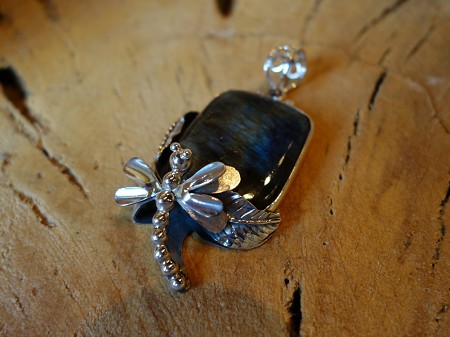 925 Silver Pendant with  Dragonfly square Labradorite stone