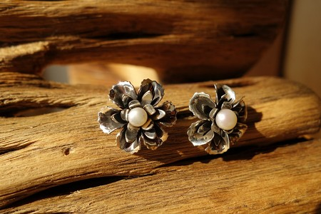 925 Silver Rose with Pearl POST Earrings